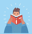 a hipster man with beard reading a book vector image vector image