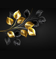 background with gold and black branches vector image