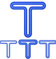 Blue line t logo design set vector image vector image