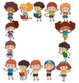 border template with kids in different actions vector image