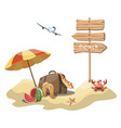 cartoon island in sea with a chaise longue and vector image vector image