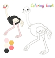 Coloring book ostrich kids layout for game