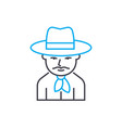cowboy linear icon concept cowboy line vector image