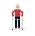 elderly man grandfather walking with a walker vector image vector image