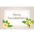 elegant frame wedding invitation with plumeria vector image