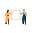 female architect and male engineer worker drawing vector image vector image