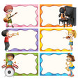 frame template with kids playing musical vector image vector image
