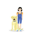 girl with labrador dog friend isolated on white vector image vector image