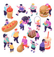 gluttony isometric icons set vector image vector image