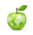 green apple world map design isolated on white vector image