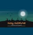 happy halloween landscape with grave vector image vector image