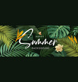 happy summer tropical green leaf and flower vector image