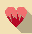 heartbeat icon red and rose heart with cardio line vector image vector image