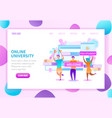 higher education online web page template vector image