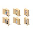 isometric set icons large wardrobes closets vector image