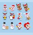kawaii cute christmas santa claus and friendhappy vector image