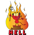 Little Devil Smoking A Cigar Over The Word HELL vector image vector image