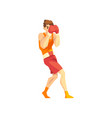 male boxer character training with red boxing vector image
