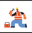 male builder using hammer and toolbox busy workman vector image vector image