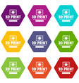 material 3d printing icons set 9 vector image vector image
