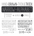 Narrow alphabet vector image