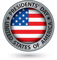 Presidents day silver label with USA flag vector image