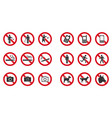 prohibition sign set - no phone no littering vector image vector image