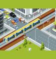 railway crossing isometric trains cars rails vector image vector image