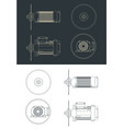 saw blade and motor drawings vector image vector image