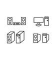 set of icon speaker monitor and computer case vector image