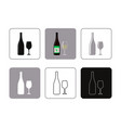 set of icons of bottle wine with glass vector image vector image