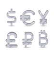 silver signs world currencies vector image vector image