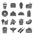 simple set fast food icons vector image