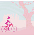 slim woman with bicycle in a park vector image vector image