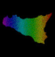 spectral colored pixel sicilia map vector image vector image