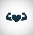 strong health icon heart with muscle arms vector image