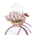 sweet valentine day card with tulip flowers vector image