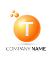 t letter splash orange dots and circle bubble vector image vector image