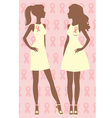 Two breast care awareness women vector image