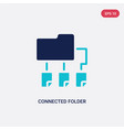 two color connected folder data icon from vector image vector image