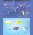 weather elements and backgrounds for day and night vector image vector image