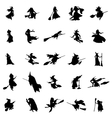 witch silhouettes set vector image