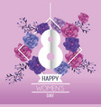 womens day celebration with roses and leaves vector image vector image