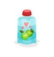 yogurt with taste of apples in soft packaging vector image