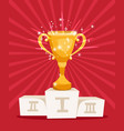 golden award prize cup on podium vector image