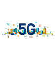 5g flat people with mobile vector image