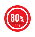 80 percent off - red sale stamp - special offer vector image