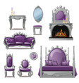 a set of furniture and accessories for living room vector image vector image