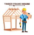 american builder building timber frame vector image