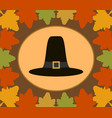 autumn thanksgiving day background with pilgrim vector image vector image
